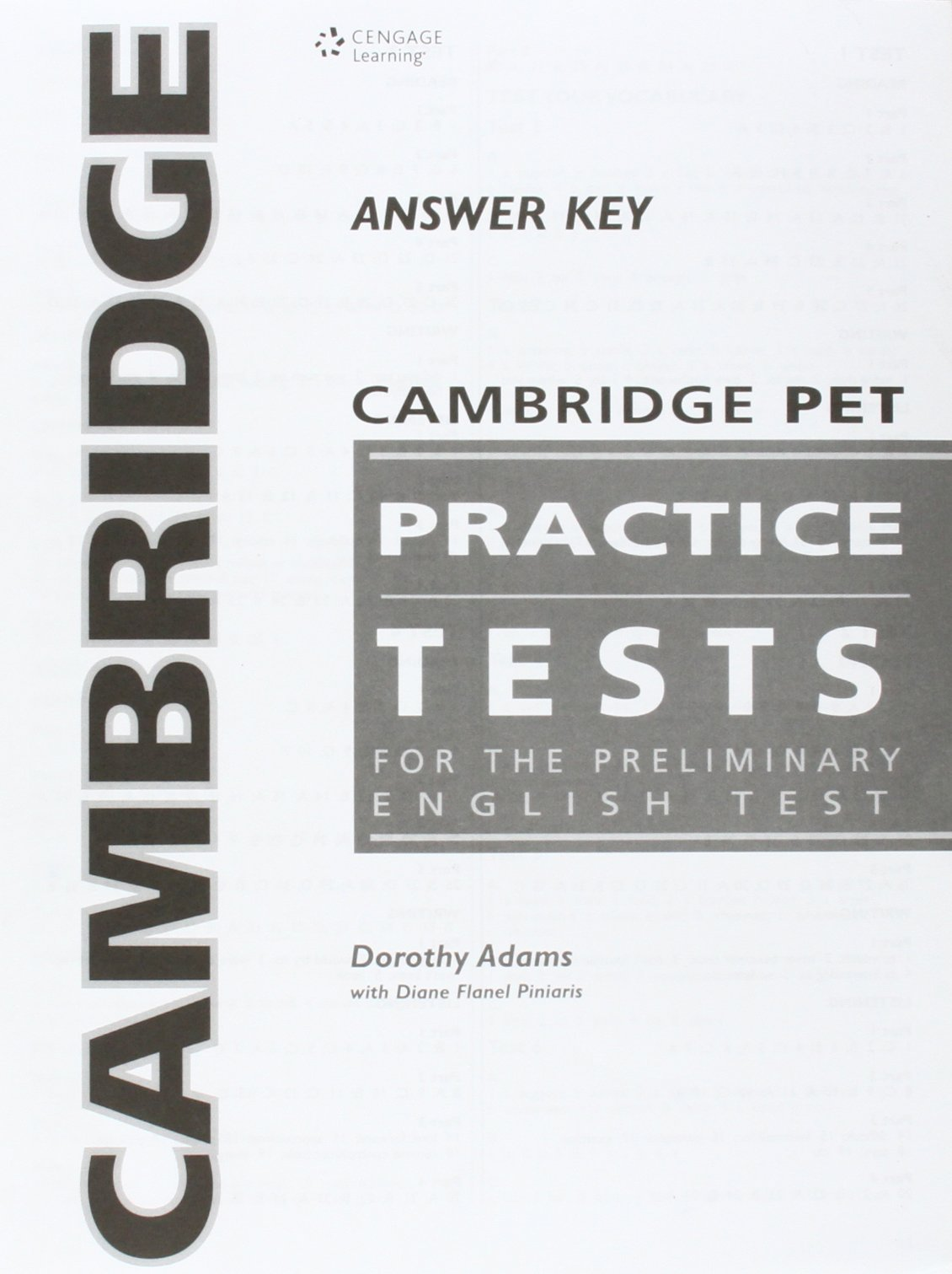 Cambridge PET Pracice Test  Answer Key